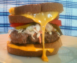 Homemade Burger with Grilled Cheese Buns by Peter P.