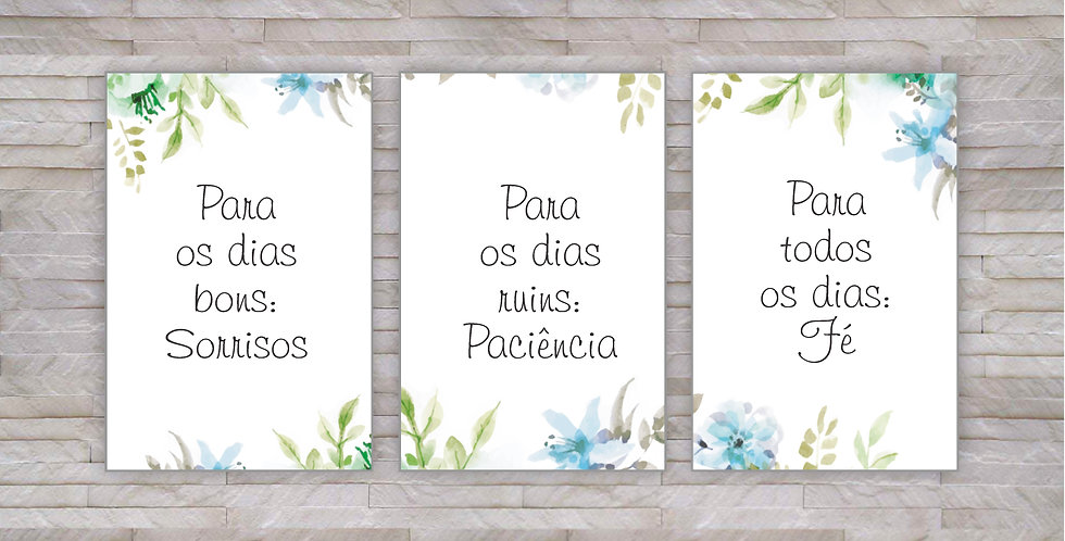 Qd Painel SORRISOS, PACIÊNCIA E FÉ - 3pçs
