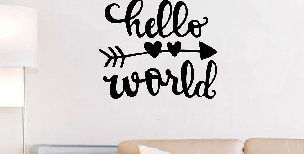 Adesivo Frase - HELLO WORLD