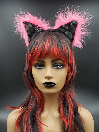 Pink with skulls cat ears