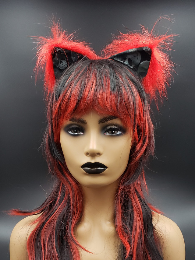 Red with skulls cat ears