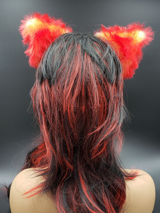 Red/yellow with white lining cat ears