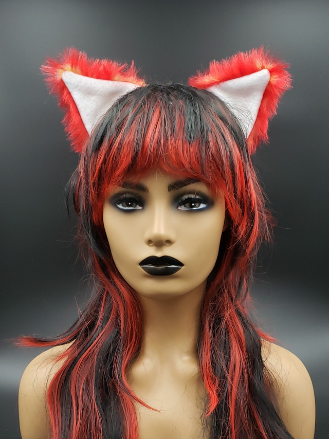 Red/yellow/white cat ears