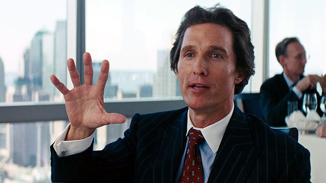 matthew mcconnaughey in wolf of wall street nobody knows market goes up down sideways least of all stock brokers