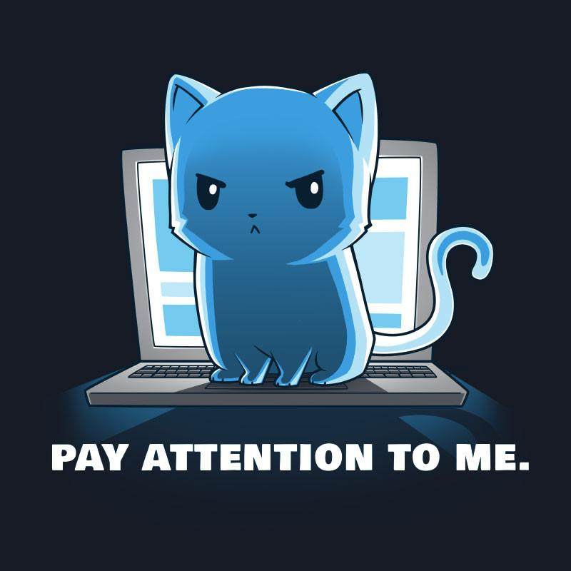Pay attention to me - teeturtle.com - cute funny blue cat picture meme