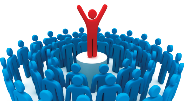 Social Influence - Red and blue stick figures clip art