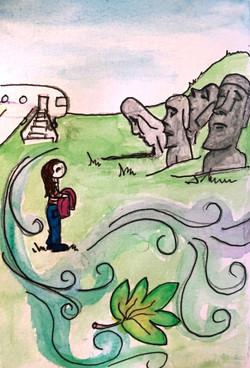 Easter Island ©Natty Illustrations