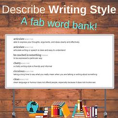 How to describe writing style.  Vocabulary for describing writing. Metalanguage.