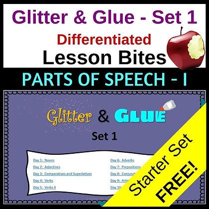 Glitter and Glue Lesson Bites - Set 1 - Parts of Speech I
