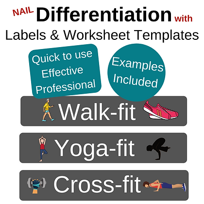 Differentiation: whiteboard cues, labels, worksheet templates - SPORTS theme