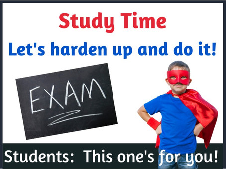 Study Time:  It's time to harden up and revise for exams!