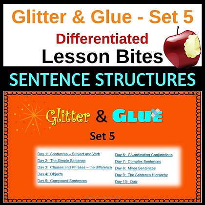 Glitter and Glue Lesson Bites - Set 5 - Sentence structures