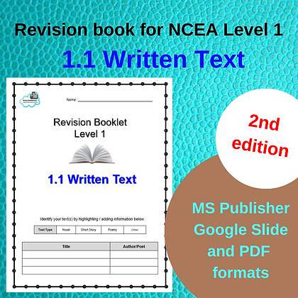 Revision Booklet - Level 1 Written Text