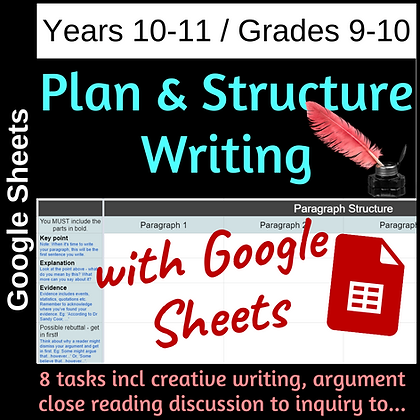 Plan and Structure Writing - 8 genre for Yr 10-11