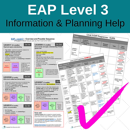 Information and Planning Help for Your Level 3 EAP Programme