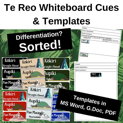 Differentiating whiteboard cues and Worksheet Templates - TE REO