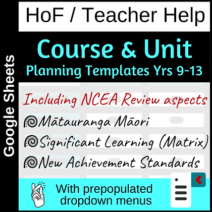 Course and Unit Planners (with the NCEA Review in mind)