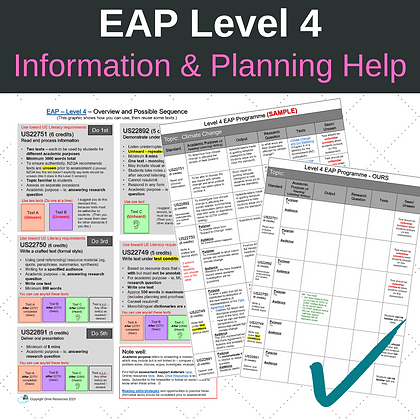 Information and Planning Help for Your Level 4 EAP Programme