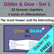 Parts of speech lesson starters, bell-ringers, mini-lessons