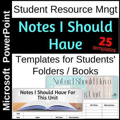 Notes You Should Have - Template for student books/folders