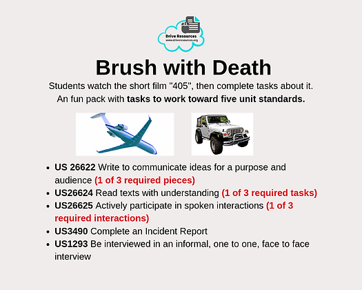 VALUE PACK - Unit Standards - Brush with Death (Word & G.Doc)