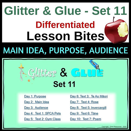 Glitter and Glue Lesson Bites - Set 11 - Reading for Purpose, Idea, Audience
