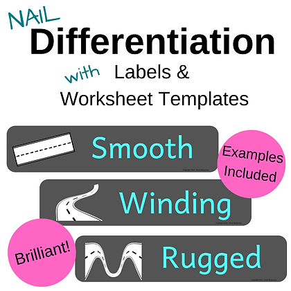 Differentiation: whiteboard cues, labels, worksheet templates - ROAD theme