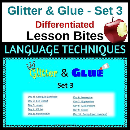 Glitter and Glue Lesson Bites - Set 3 - Language Features
