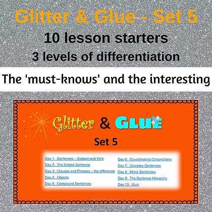 Glitter and Glue Lesson Starters - Set 5 - Sentence structures