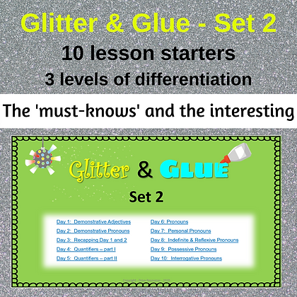 Glitter and Glue Lesson Starters - Set 2 - Parts of Speech II