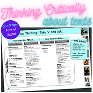 Thinking critically about texts we read and view - critical thinking reference chart