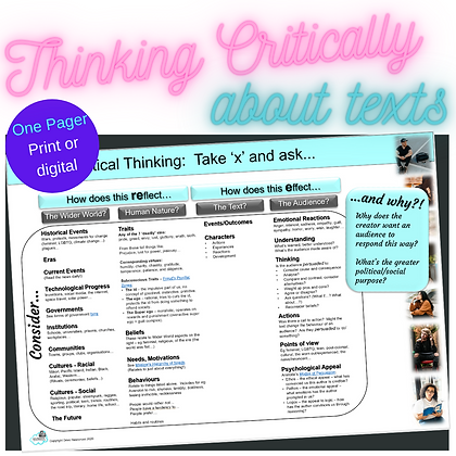 Thinking Critically:  Reflecting, Effecting and Why