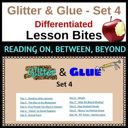 Glitter and Glue Lesson Bites - Set 4- Reading on, between, beyond