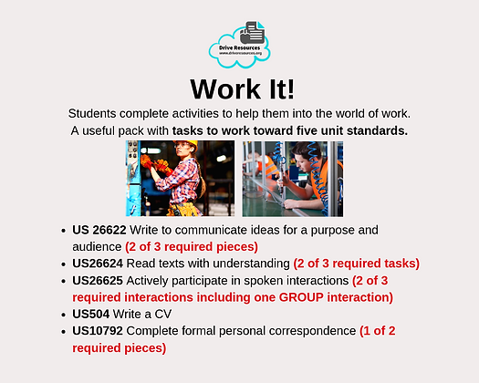 VALUE PACK - Unit Standards - Work It (Word & G.Doc)