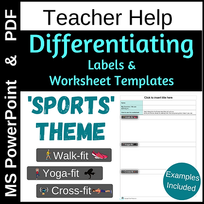 Differentiation: worksheet templates & labels - SPORTS theme