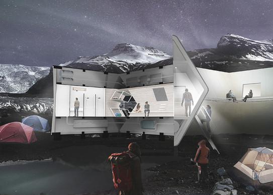 雙脊-適應地形環境的小屋