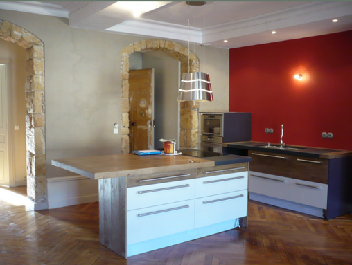 Rénovation D'appartement à Lyon, Cuisine ouverte