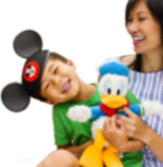 mom and son - mickey hat and dduck stuff