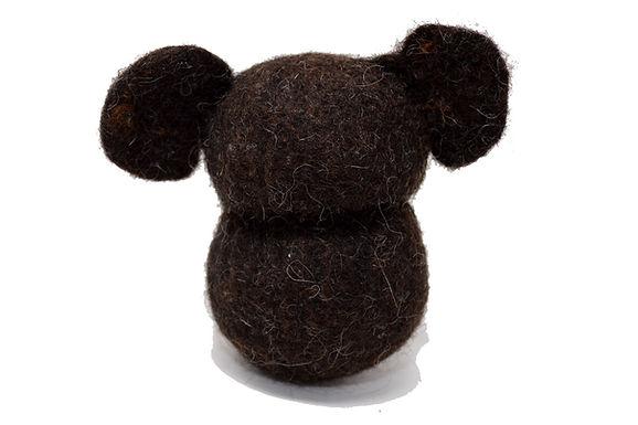 Teddy aus Bio-Wollfilz in dunkelbraun