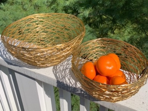 Gold Woven Baskets in 2 Sizes