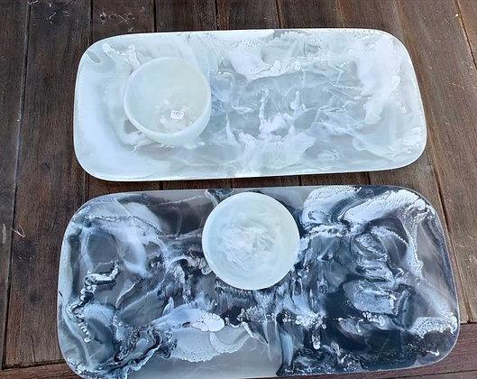 Resin Serving Platter with Matching Dip Bowl