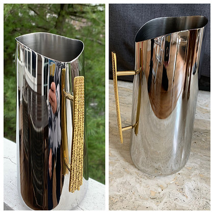 Stainless Pitcher with Elegant Gold Handle