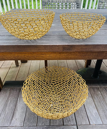 New Gold Bread and Fruit Baskets in 3 sizes- Sold Separately