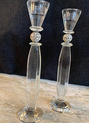 Irish Crystal Set of 2 Candlestick holder with Crystal Embellishments