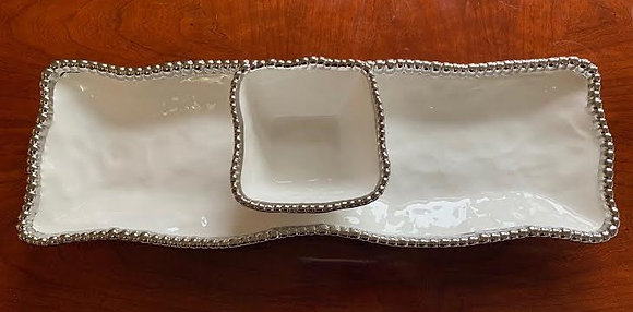 Serving Platter With Dip Bowl