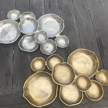 9 Piece attached bowl in Silver or Gold