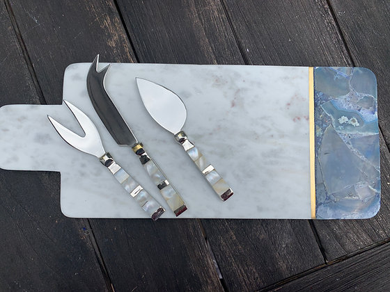 Marble and Agate Cheese board/Set of 3 agate Cheese knives sold Seperatly