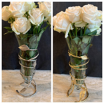 Beautiful Leaf Vases available in Gold and Silver