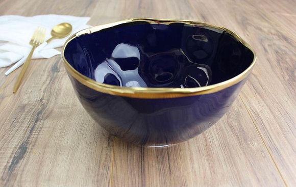 Large Serving bowl in Blue and Gold