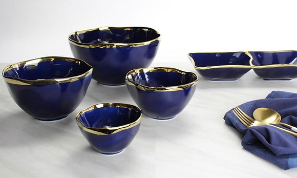 Blue and Gold Serving Bowl and dip bowl in 3 sizes